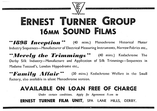 The Ernest Turner Film Units 16mm Sound Films For Loan 1947
