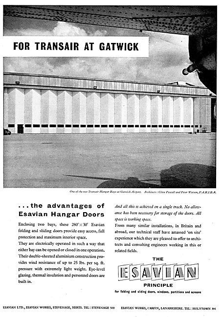 Esavian Hangar Doors - Transair Hangar Gatwick 1958
