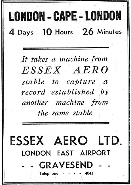 Essex Aero Aeronautical Engineers Gravesend. London East Airport