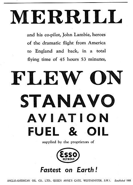 Merril & Lambie Used Esso Stanavo Aviation Fuel & Oil