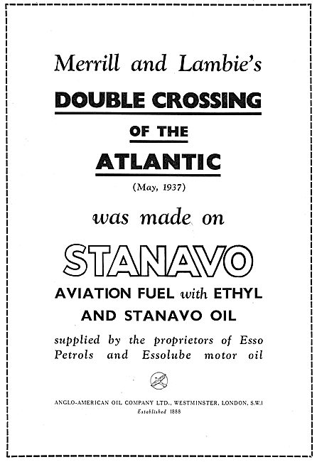 Esso Stanavo Aviation Fuel & Oil - 1937 Double Atlantic Crossing