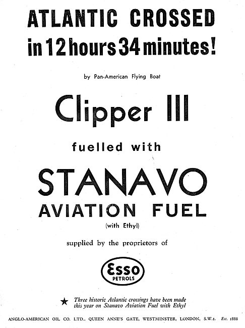 Esso Stanavo Aviation Fuel & Oil - Pan-American Clipper III
