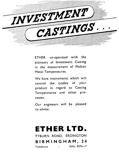 Ether Indicating Pyrometers Investment Castings