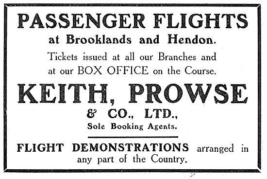 Keith Prowse & Co Ltd - Passenger Flight Arranged.At  Hendon