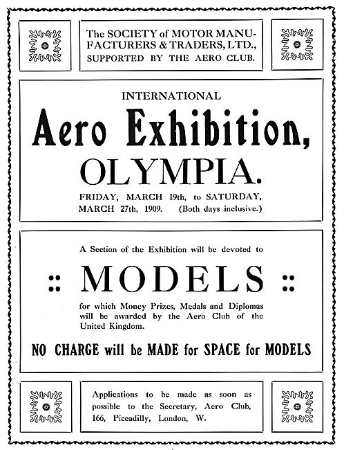Aero & Motor Boat Exhibition. Olympia 1909. Prize Models