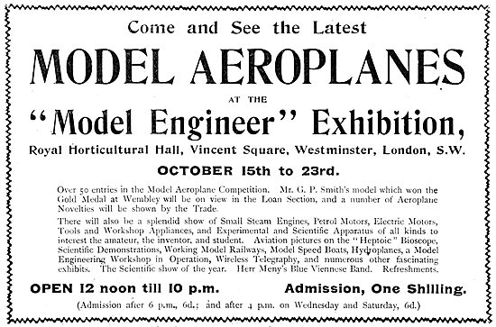 Model Engineer Exhibition 1909. Vincent Square Westminster