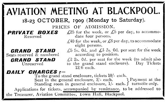 Aviation Meeting At Blackpool. 18th-23rd October 1909