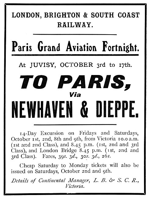 Paris Grand Aviation Fortnight. Juvisy 3rd -17th October 190 0