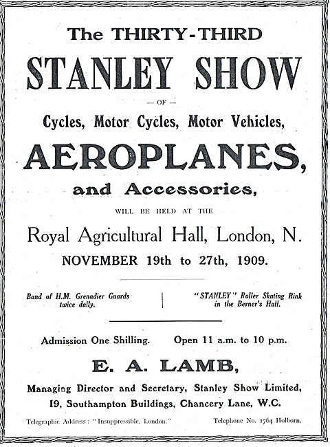 The Stanley Show Of Aeroplanes At The Royal Agricultural Hall