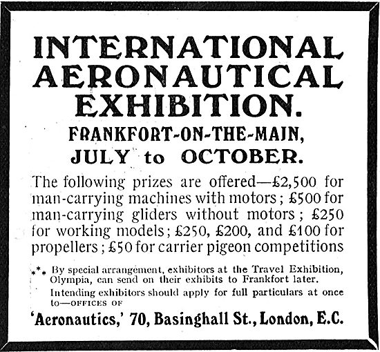 International Aeronautical Exhibition Frankfort-On-The-Main 1909