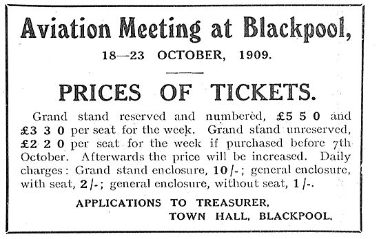 Aviation Meeting At Blackpool 18-23 October 1909