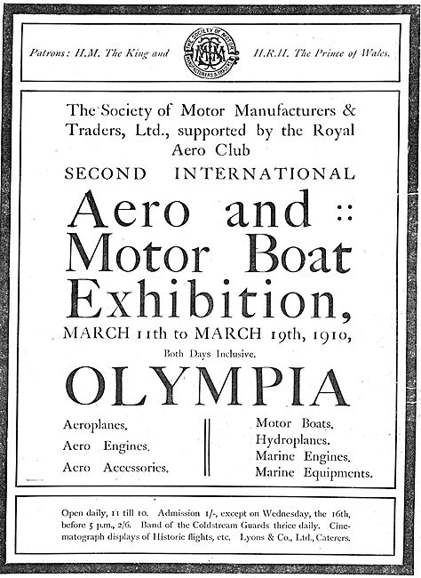 Aero & Motor Boat Exhibition Mar 19th 1910 Olympia: Admission 1/-