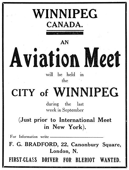 Aviation Meeting. City Of Winnipeg. September 1910