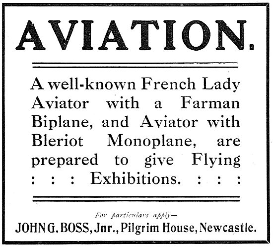 John G.Boss. Flying Exhibitions Arranged.