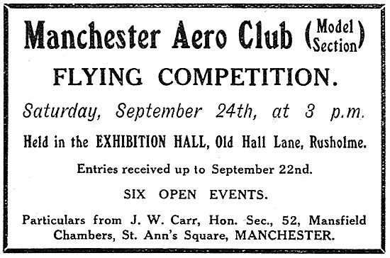 Manchester Aero Club (Model Section). Flying Competition Sep 1910