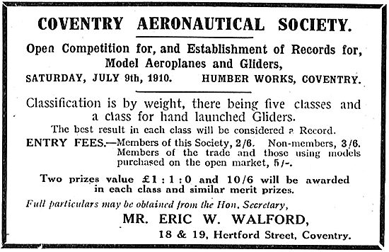 Coventry Aeronautical Society Model Aircraft Competition