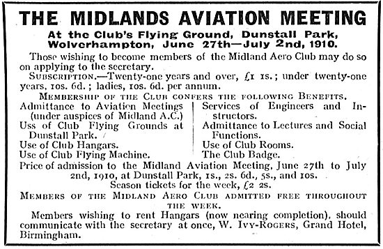The Midlands Aviation Meeting Dunstall Park Wolverhampton