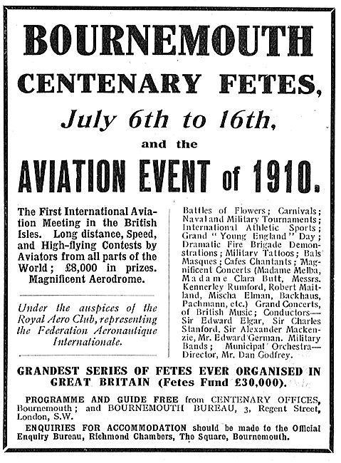 Bournemouth Centenary Fetes Aviation Meeting July 1910