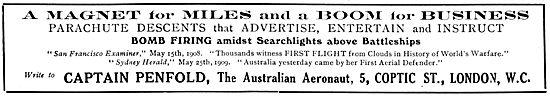Captain Penfold The Australian Aeronaut - Aerial Displays