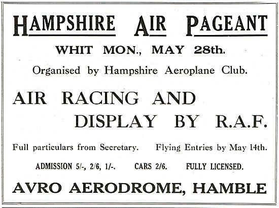 Hampshire Air Pageant May 28th 1928 - Avro Aerodrome Hamble