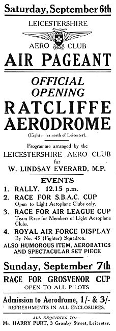Official Opening Of Ratcliffe Aerodrome - Sat September 6th 1930