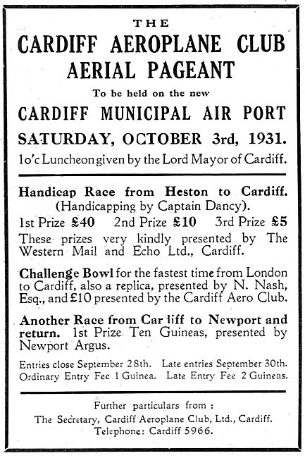 Cardiff Aerial Pageant - Cardiff Airport Oct 3rd 1931