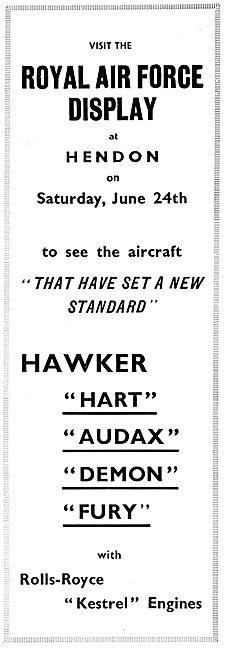 Royal Air Force Display Hendon. June 24th 1933