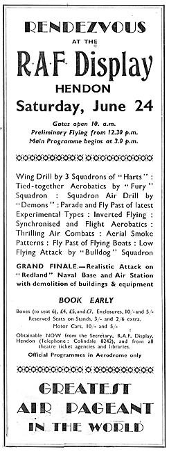 RAF Display Hendon June 24th 1933