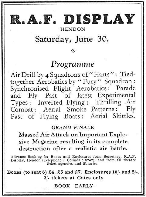 RAF Display Hendon Saturday June 30th 1934