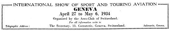 Geneva Sport & Touring Aviation Show 1934