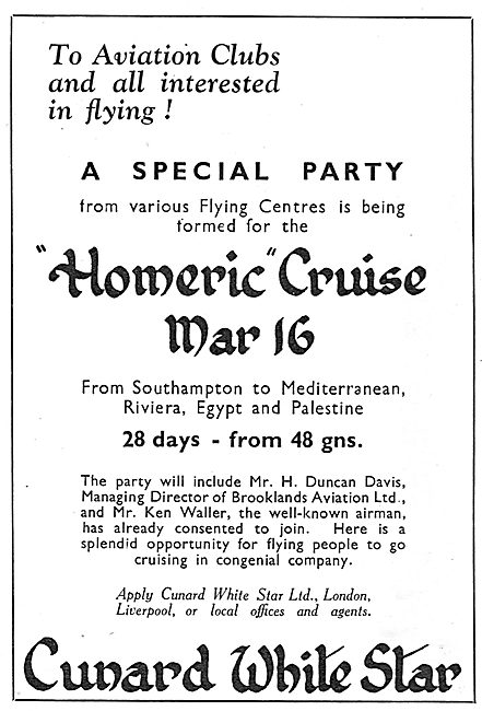 Cunard White Star Homeric Cruise: Flying & Aviation Clubs Invited