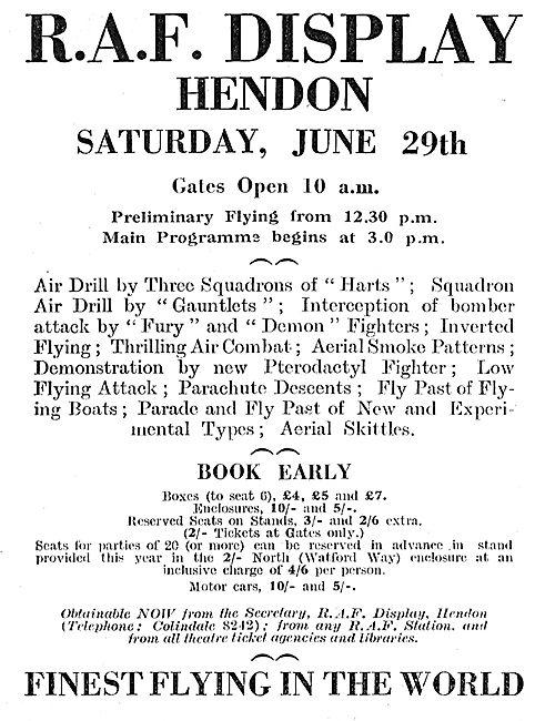 Royal Air Force Display Hendon: June 29th 1935