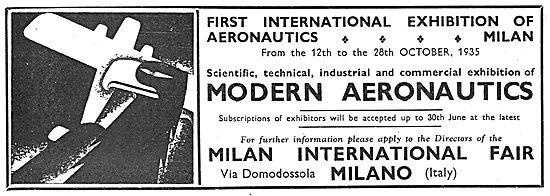 Milan International Fair 12th - 26th October 1935: Aeronautics