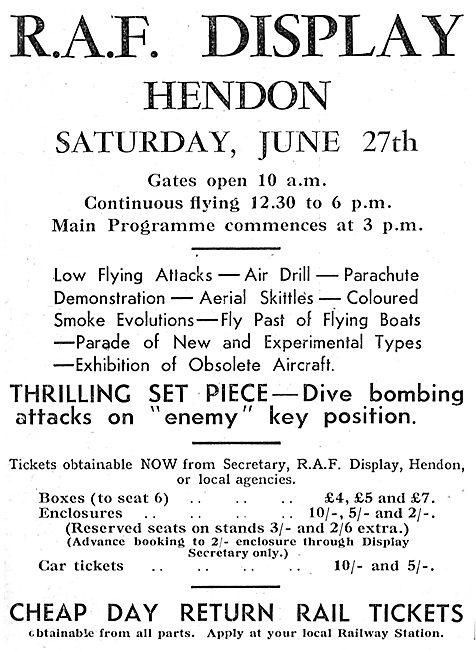 RAF Display Hendon June 27th 1936