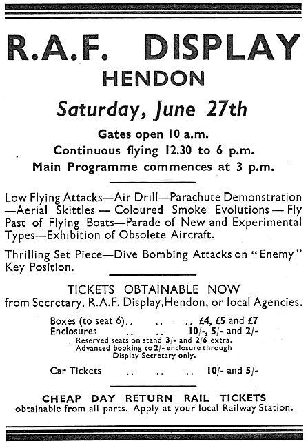 RAF Display Hendon Saturday June 27th 1936