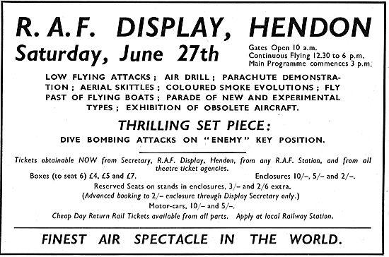 RAF Display Hendon - Saturday June 27th 1936