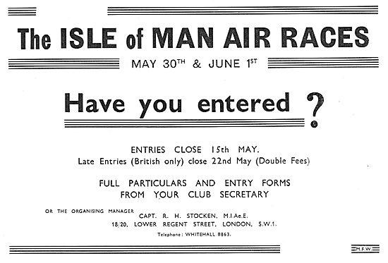 Isle Of Man Air Races - May 30th & June 1st 1936