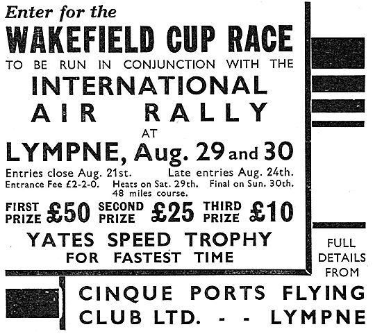 Wakefield Cup Air Race - Lympne Aug 29th & 30th 1936