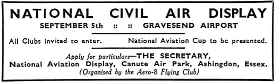 National Civil Air Display Canute Air Park Sept 5th 1936