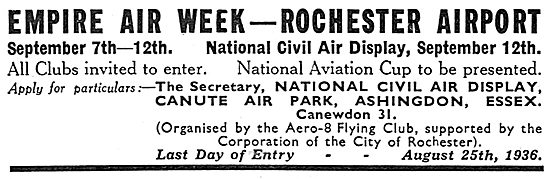Empire Air Week 1936 - Sept 7th-12th Rochester Airport