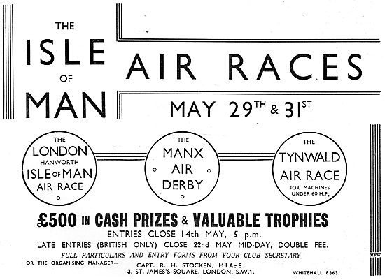 Isle Of Man Air Races - Manx Air Derby Tynwald Air Race. May 1937