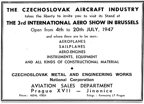 3rd International Aero Show Brussels 1947. Czechoslovak Aircraft