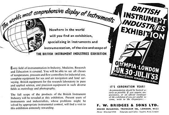 The British Instrument Industries Exhibition 1953. F.W.Bridges