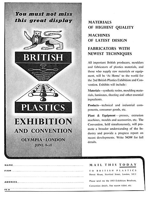British Plastics Exhibition & Convention Olympia June 1953