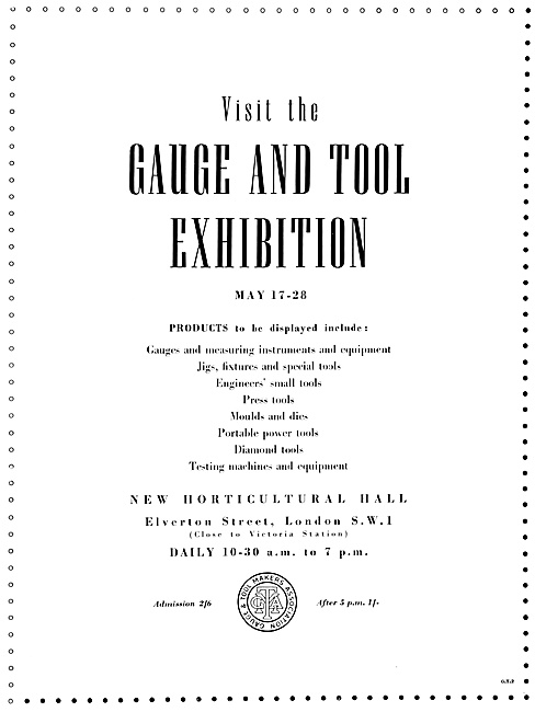 Gauge & Tools Exhibition 1954 - New Horticultural Hall