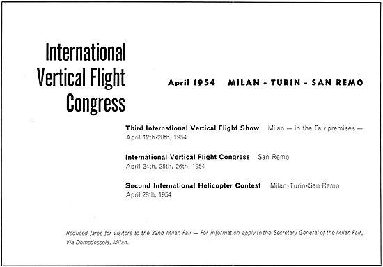 International Vertical Flight Congress Milan - Turin  April 1954