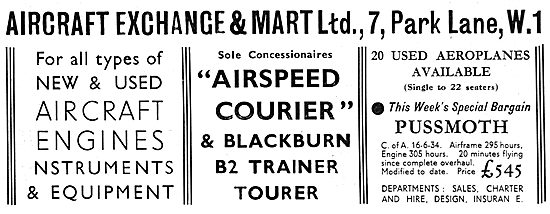 Aircraft Exchange & Mart: Sole Concessionaires Airspeed  Courier