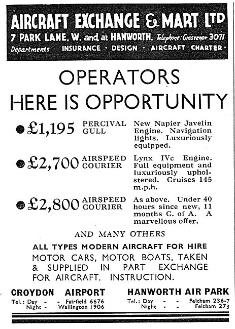 Aircraft Exchange & Mart: Croydon: Airspeed Courier £2700