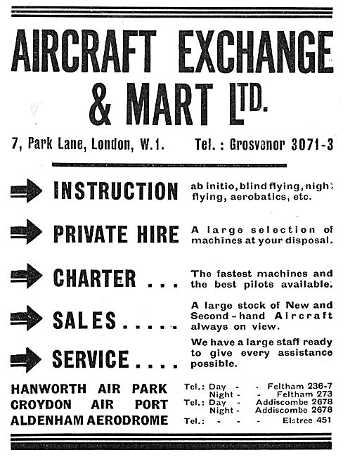 Aircraft Exchange & Mart: Flying Instruction, Hire & Charter