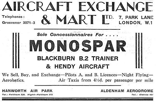 Aircraft Exchange & Mart: Sole Concessionnaires For Monospar